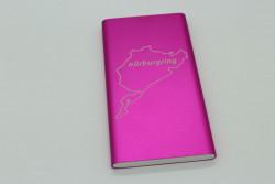 Powerbank 10000 mAh - mit Rennstrecke nach Wahl, Pink