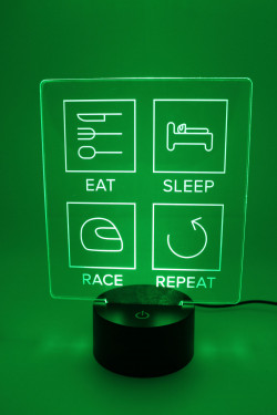 LED Lampe - Eat Sleep Race Repeat - gefüllte Linien