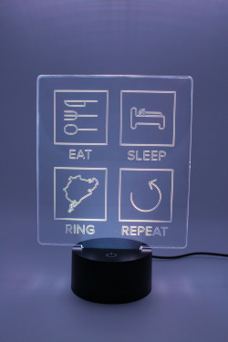 LED Lampe - Eat Sleep Repeat mit Strecke nach Wahl - Linien