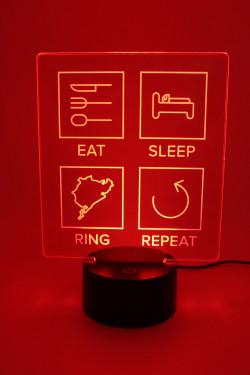 LED Lampe - Eat Sleep Ring Repeat - gefüllte Linien