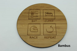 4er Set Untersetzer aus Holz - Eat Sleep Race Repeat