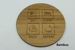 4er Set Untersetzer aus Holz - Eat Sleep Race Repeat
