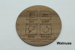 4er Set Untersetzer aus Holz - Eat Sleep Gravur nach Wahl