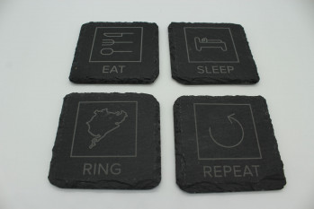 4er Set Eat Sleep Ring Repeat Schiefer Untersetzer