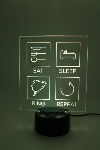 LED Lampe - Eat Sleep Repeat mit Strecke nach Wahl - gefüllte Linien