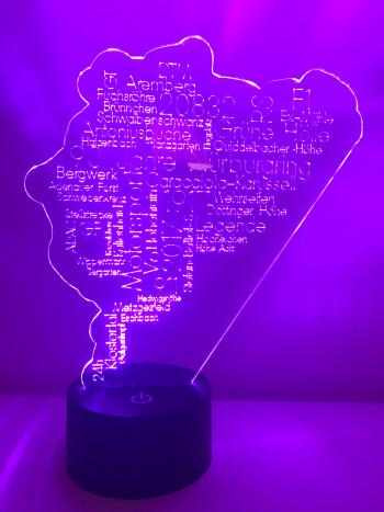 LED Lampe Persönliche Wort Cloud Nürburgring