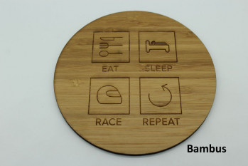 4er Set Untersetzer aus Holz - Eat Sleep Race Repeat Bambus