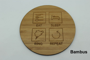 4er Set Untersetzer aus Holz - Eat Sleep Ring Repeat Walnuss