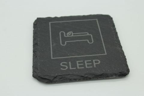 4er Set Eat Sleep Ring Repeat Schiefer Untersetzer