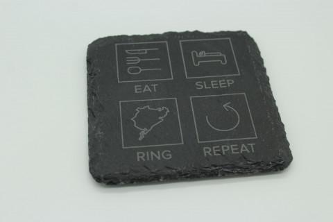 6er Set Eat Sleep Ring Repeat Schiefer Untersetzer
