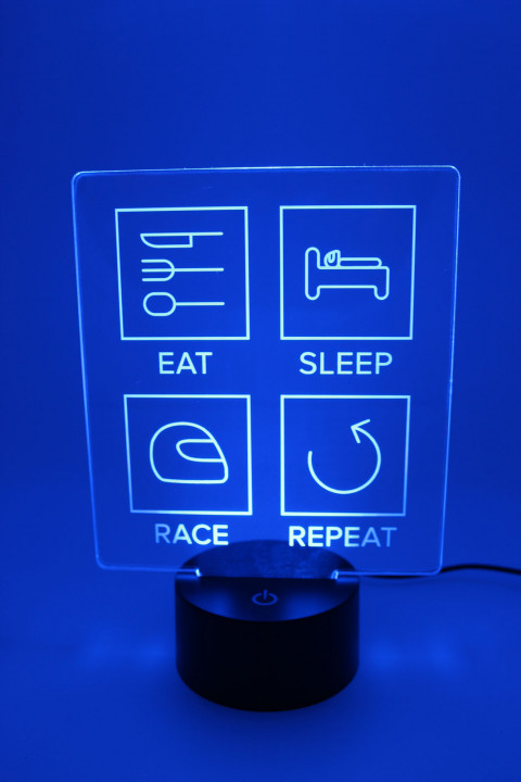 LED Lampe - Eat Sleep Race Repeat - gefüllte Linien