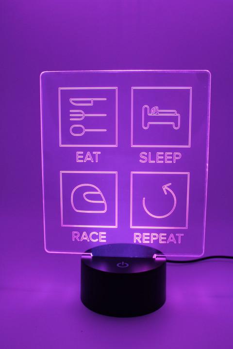 LED Lampe - Eat Sleep Race Repeat - Linien