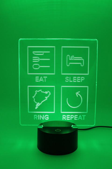 LED Lampe - Eat Sleep Ring Repeat - Linien
