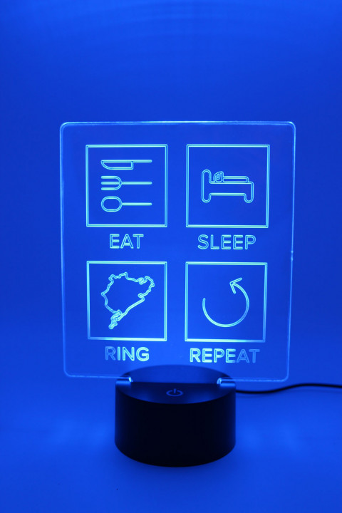 LED Lampe - Eat Sleep Repeat mit Strecke nach Wahl - Linien