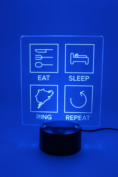 LED Lampe - Eat Sleep Ring Repeat - gefüllte Linien