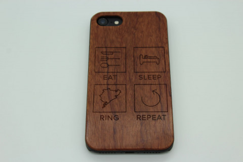 Handy Hülle aus Echtholz für Apple Telefone - Eat Sleep Ring Repeat