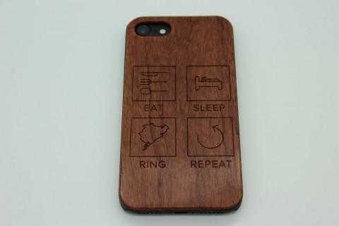 Handy Hülle aus Echtholz für Samsung Telefone - Eat Sleep Rennstrecke nach Wahl