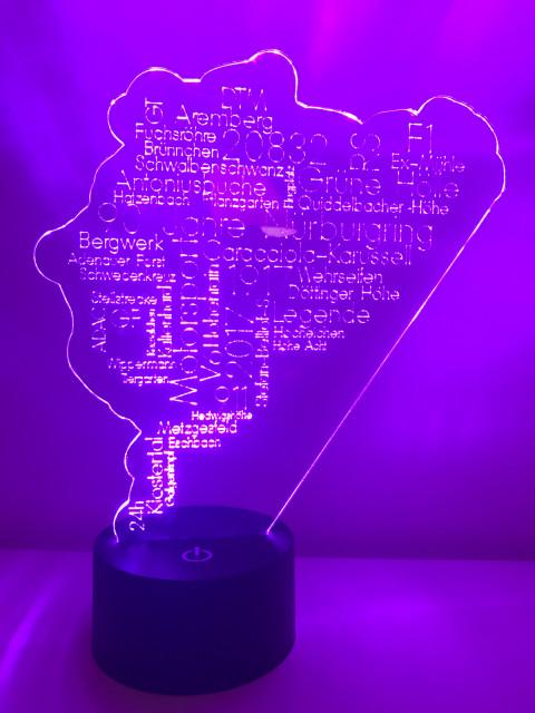 LED Lampe Wort Cloud Nürburgring
