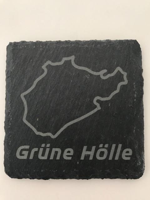 6er Set Grüne Hölle Schiefer Untersetzer