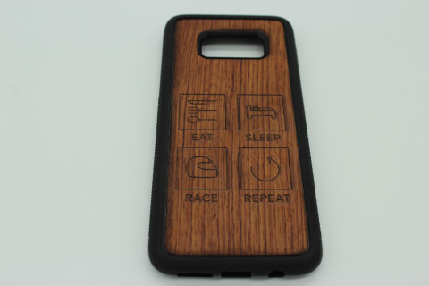 Handy Hülle aus Echtholz für Samsung Telefone - Eat Sleep Race Repeat