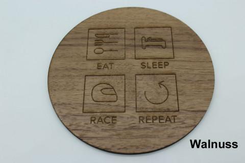 4er Set Untersetzer aus Holz - Eat Sleep Race Repeat Bambus