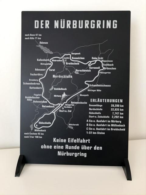 Historisches Schild vom Nürburgring auf Aluminium