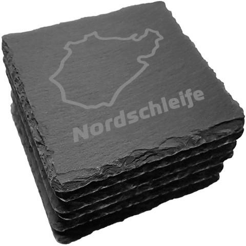 6er Set Nordschleife Schiefer Untersetzer