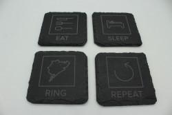 Set of 4 Eat Sleep Ring Repeat slate coasters