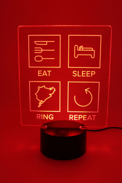 LED Lamp - Eat Sleep Ring Repeat - filled lines