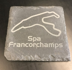 Set of 2 slate coasters with the track of choice