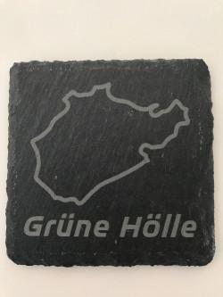 Set of 6 Grüne Hölle slate coasters