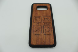 Real Wood Mobile Phone Case for Samsung Phones - Eat Sleep Ring Repeat