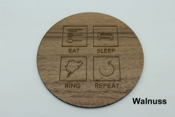 Set of 4 Eat Sleep Ring Repeat wooden coasters
