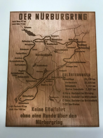Historic sign from the Nürburgring made of wood