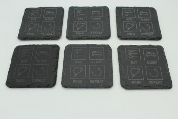 Set of 6 Eat Sleep Ring Repeat slate coasters