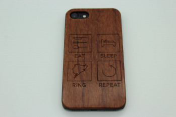 Real Wood Mobile Phone Case for Apple Phones - Eat Sleep Ring Repeat