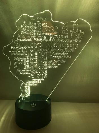 LED Lamp Personal Word Cloud Nurburgring