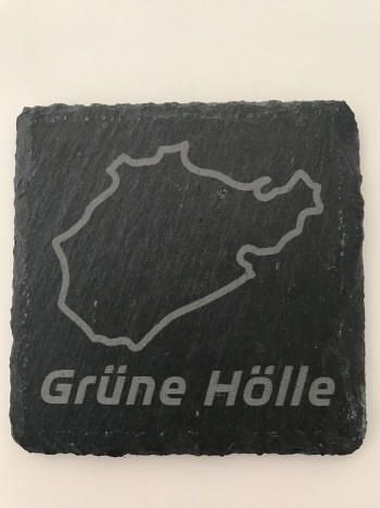 Set of 6 Grüne Hölle slate coasters