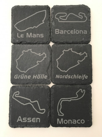 Set of 6 slate coasters with the track of choice