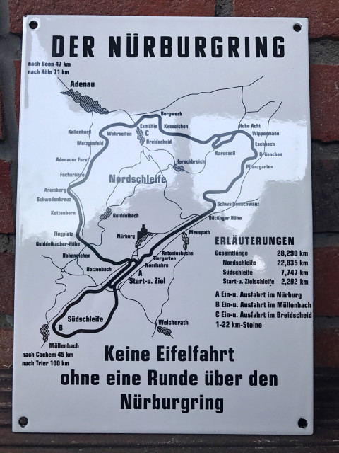 Historic sign from the Nürburgring made of enamel